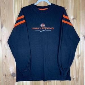 Harley Davidson Black/Orange L Long Sleeve Shirt